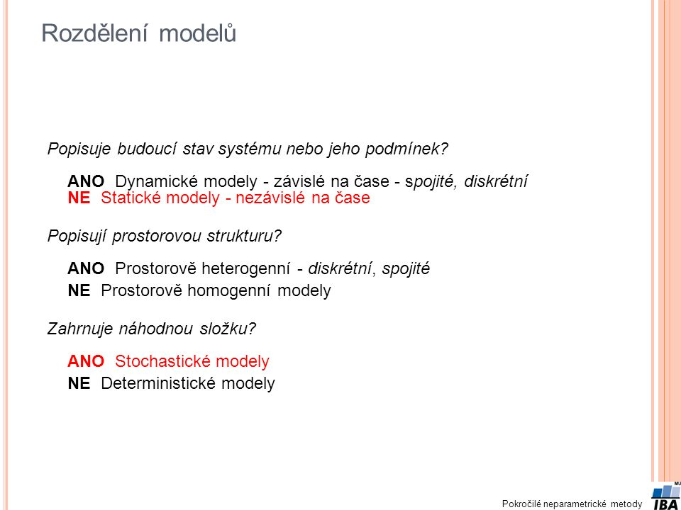 Rozdělení modelů