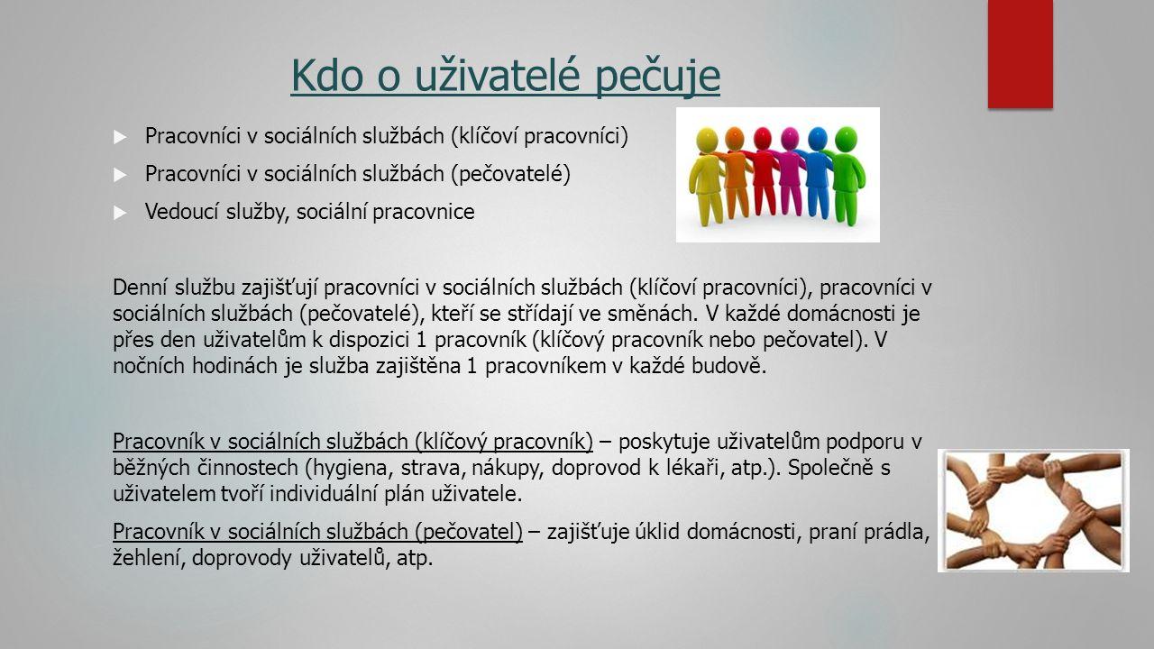 Kdo o uživatelé pečuje Pracovníci v sociálních službách (klíčoví pracovníci) Pracovníci v sociálních službách (pečovatelé)