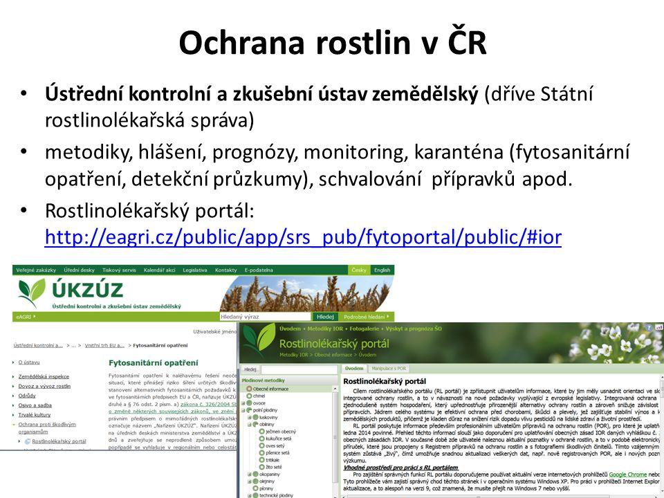 Ochrana rostlin v ČR Ústřední kontrolní a zkušební ústav zemědělský (dříve Státní rostlinolékařská správa)