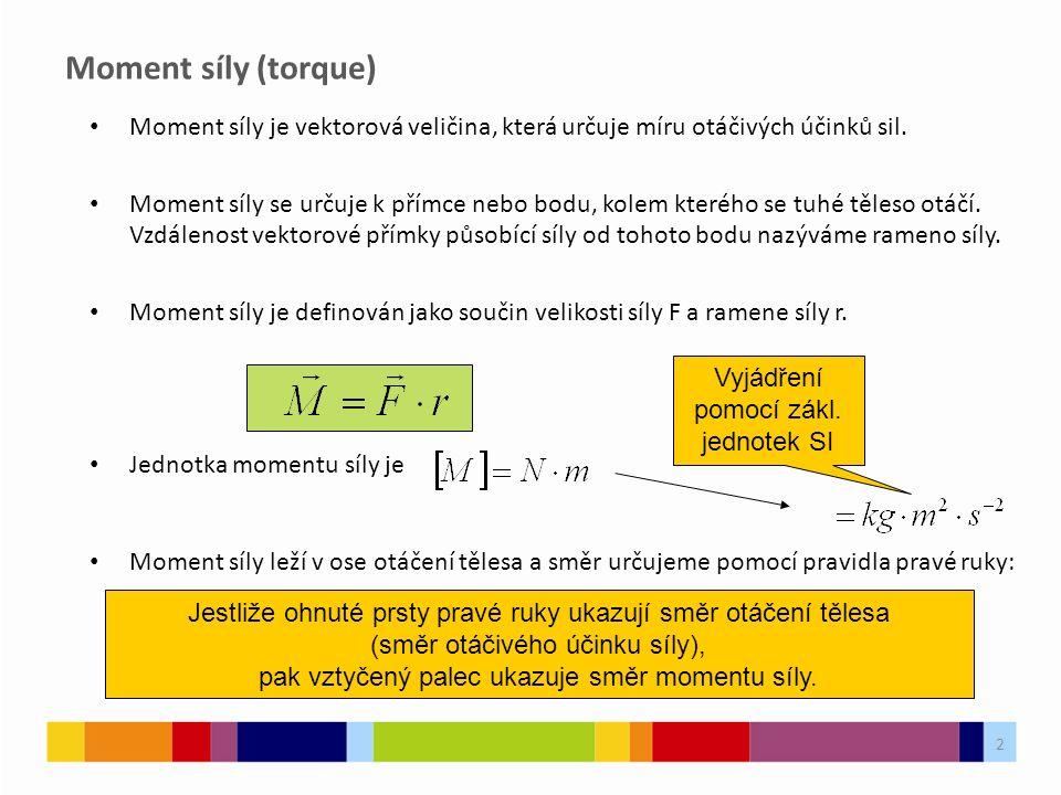 Moment síly (torque) Moment síly je vektorová veličina, která určuje míru otáčivých účinků sil.