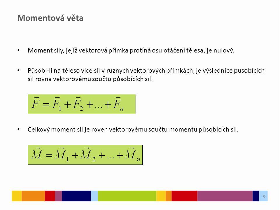 Momentová věta Moment síly, jejíž vektorová přímka protíná osu otáčení tělesa, je nulový.