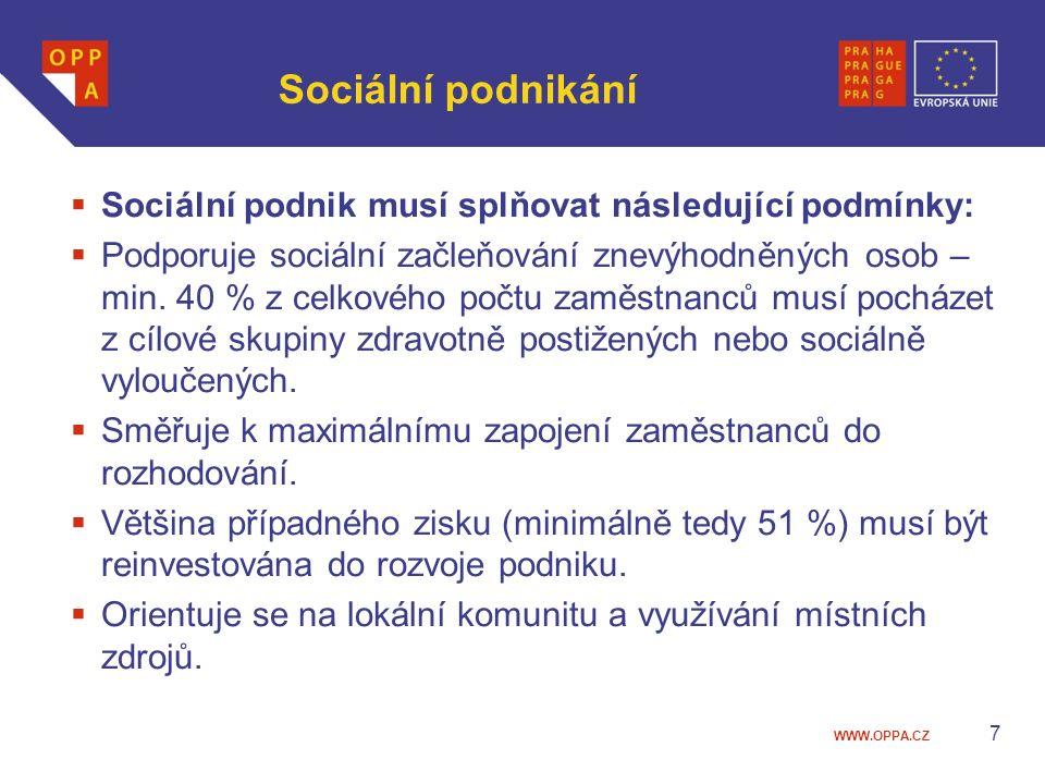 Sociální podnikání Sociální podnik musí splňovat následující podmínky: