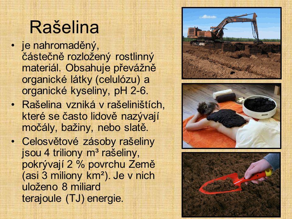 Rašelina je nahromaděný, částečně rozložený rostlinný materiál. Obsahuje převážně organické látky (celulózu) a organické kyseliny, pH 2-6.
