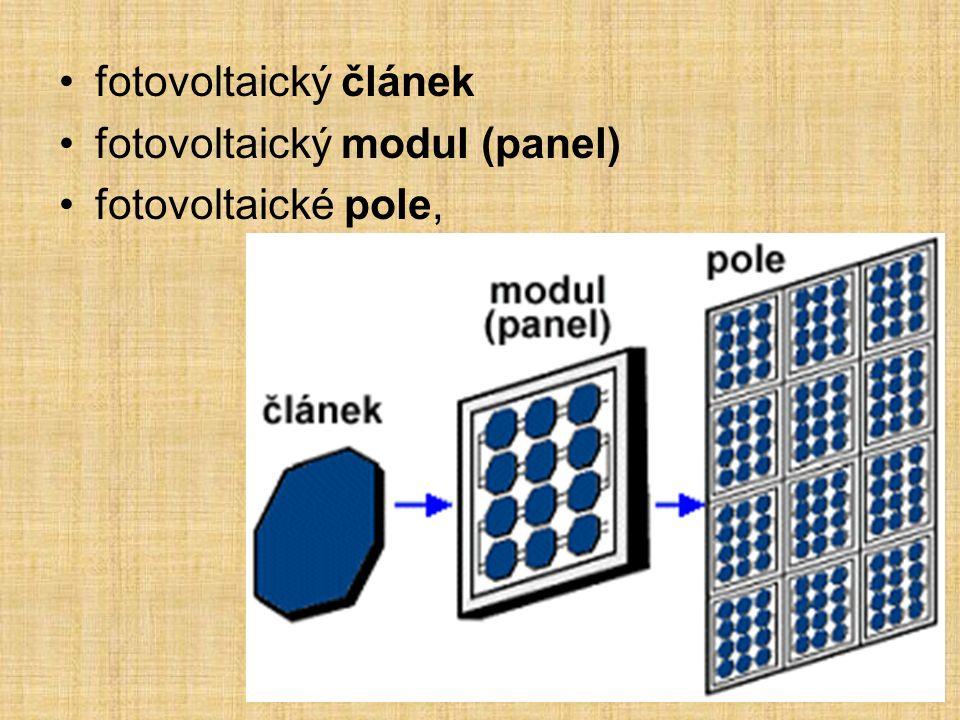 fotovoltaický článek fotovoltaický modul (panel) fotovoltaické pole,