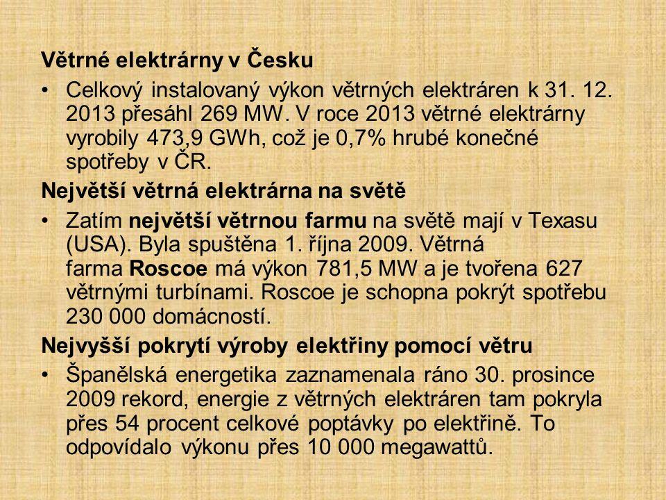 Větrné elektrárny v Česku