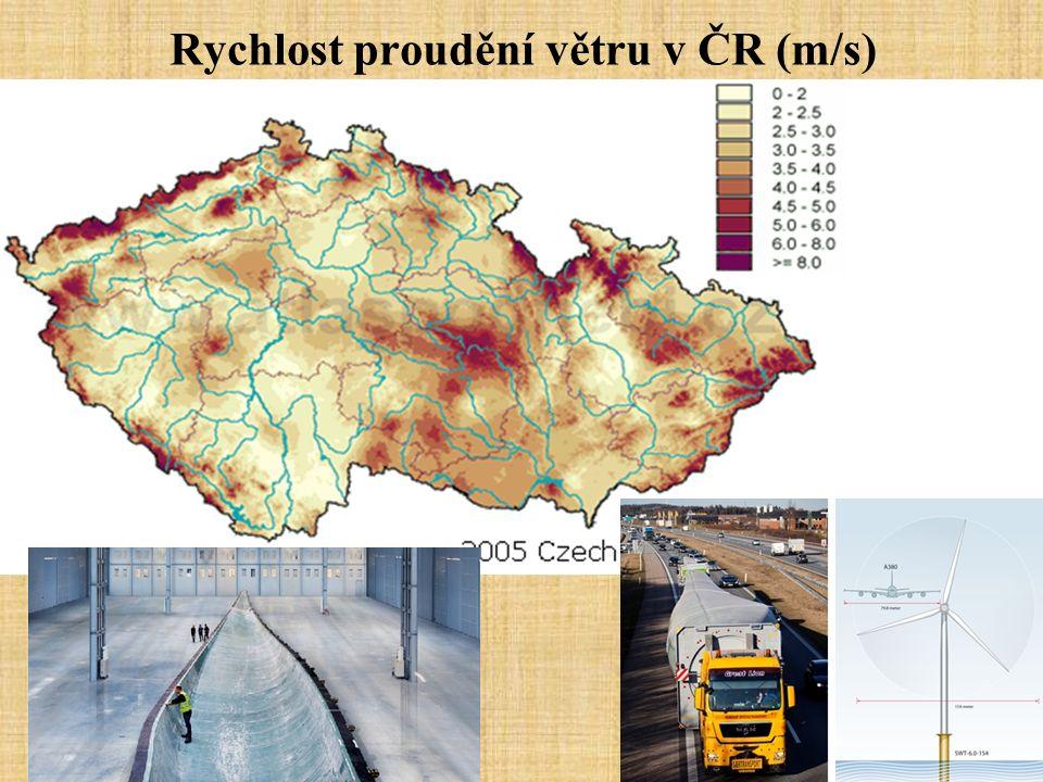 Rychlost proudění větru v ČR (m/s)