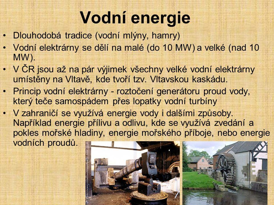 Vodní energie Dlouhodobá tradice (vodní mlýny, hamry)