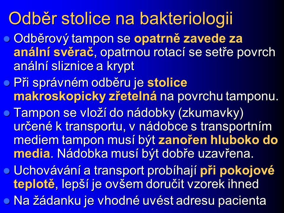 Odběr stolice na bakteriologii