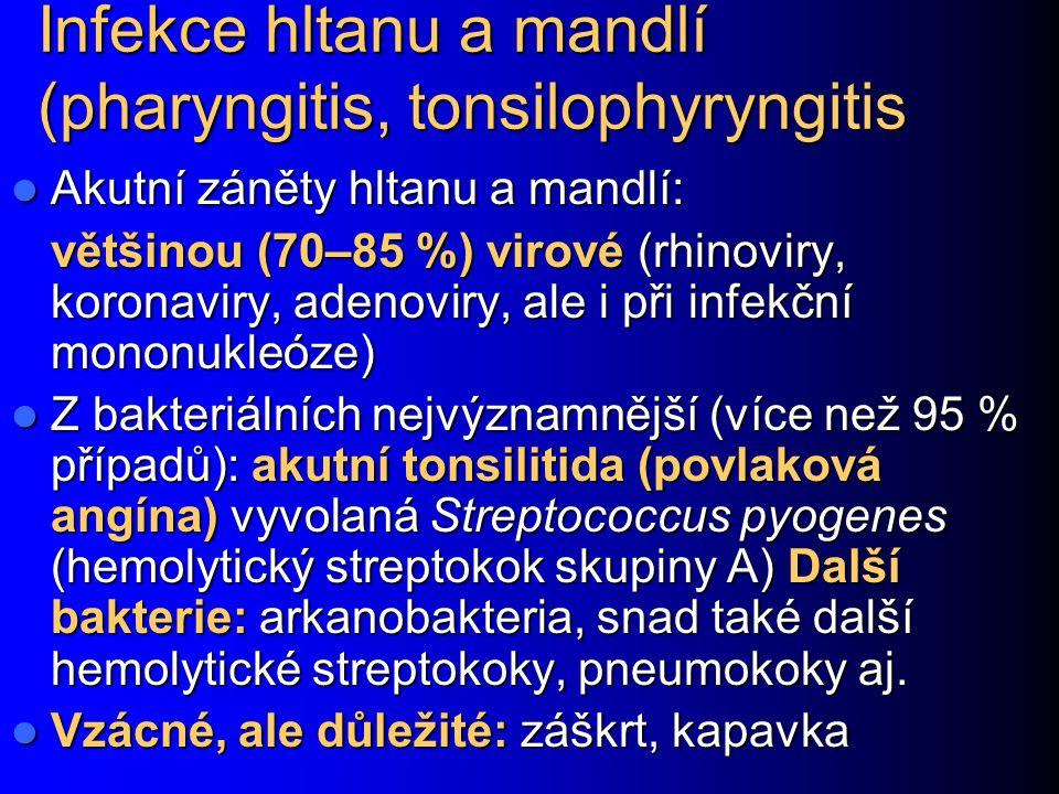 Infekce hltanu a mandlí (pharyngitis, tonsilophyryngitis