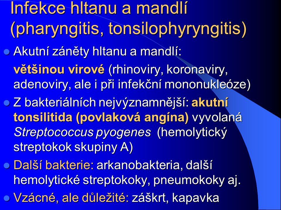 Infekce hltanu a mandlí (pharyngitis, tonsilophyryngitis)