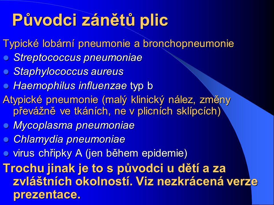 Původci zánětů plic Typické lobární pneumonie a bronchopneumonie. Streptococcus pneumoniae. Staphylococcus aureus.