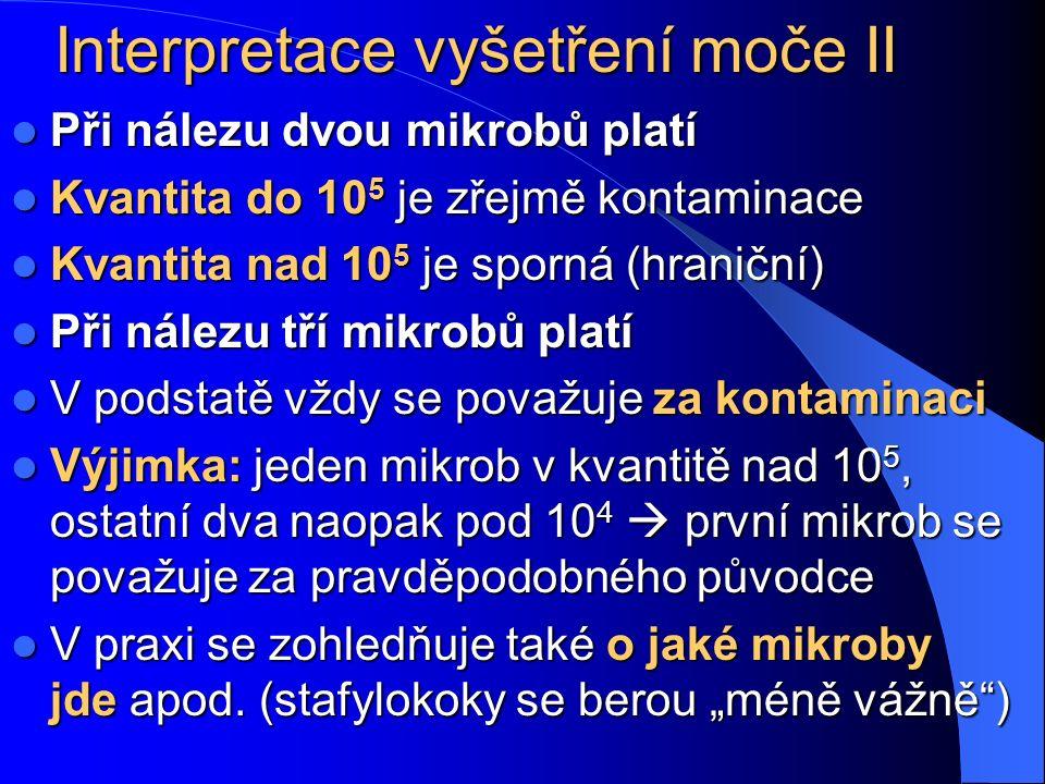 Interpretace vyšetření moče II