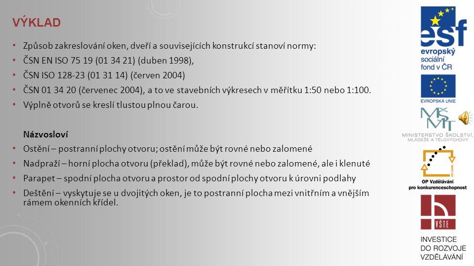 VÝKLAD Způsob zakreslování oken, dveří a souvisejících konstrukcí stanoví normy: ČSN EN ISO 75 19 (01 34 21) (duben 1998),