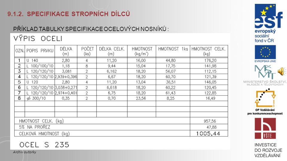 9.1.2. Specifikace stropních dílců