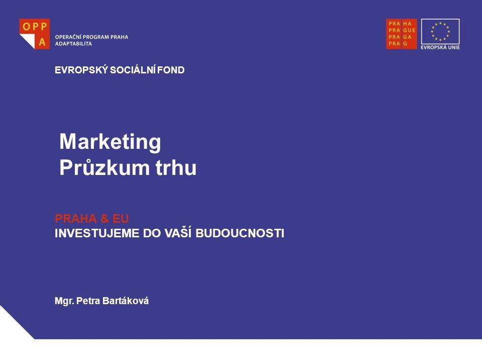 Marketing Průzkum trhu PRAHA & EU INVESTUJEME DO VAŠÍ BUDOUCNOSTI