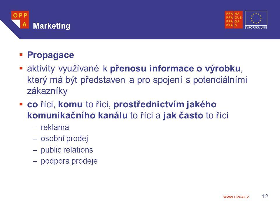 Marketing Propagace. aktivity využívané k přenosu informace o výrobku, který má být představen a pro spojení s potenciálními zákazníky.