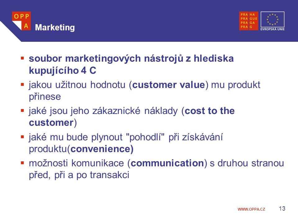 soubor marketingových nástrojů z hlediska kupujícího 4 C