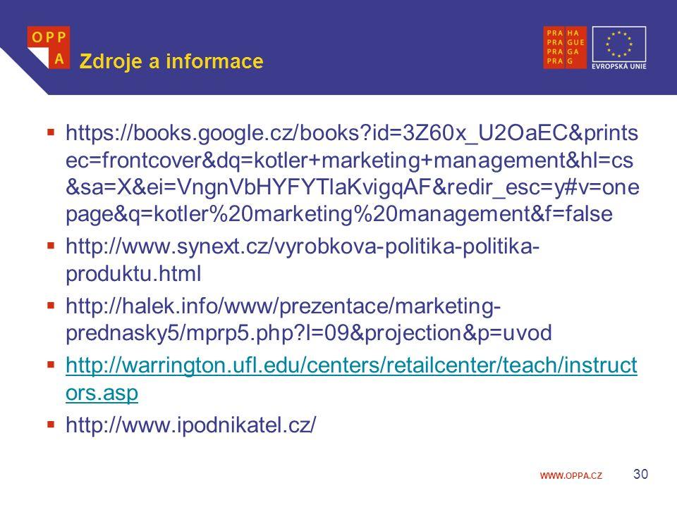 Zdroje a informace