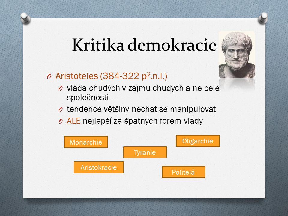 Kritika demokracie Aristoteles (384-322 př.n.l.)
