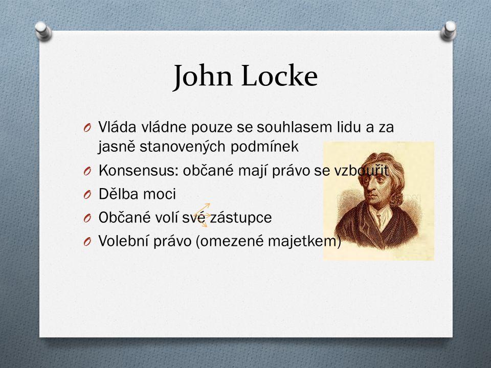 John Locke Vláda vládne pouze se souhlasem lidu a za jasně stanovených podmínek. Konsensus: občané mají právo se vzbouřit.