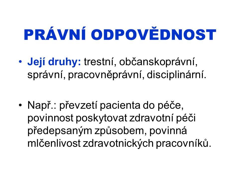 PRÁVNÍ ODPOVĚDNOST Její druhy: trestní, občanskoprávní, správní, pracovněprávní, disciplinární.