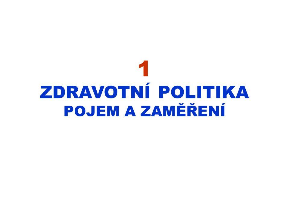 1 ZDRAVOTNÍ POLITIKA POJEM A ZAMĚŘENÍ
