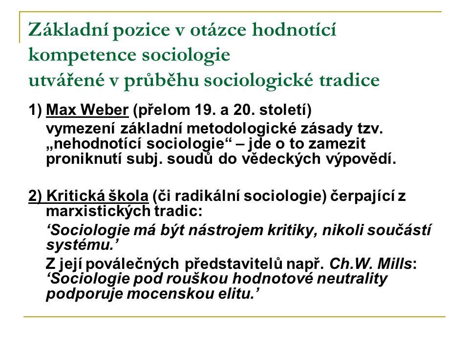 Základní pozice v otázce hodnotící kompetence sociologie utvářené v průběhu sociologické tradice