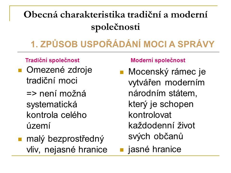 Obecná charakteristika tradiční a moderní společnosti