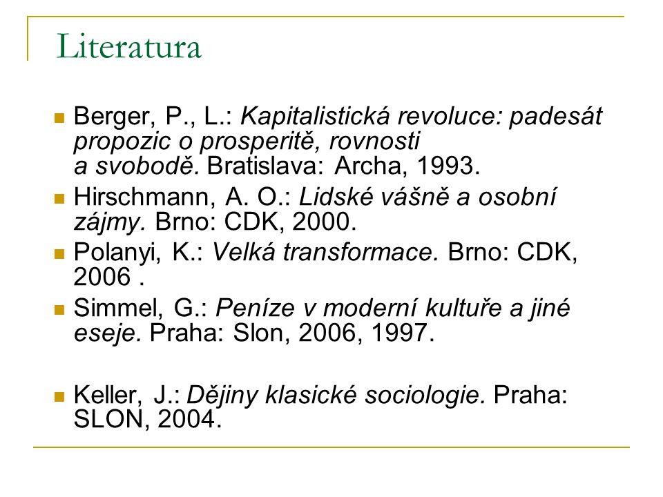 Literatura Berger, P., L.: Kapitalistická revoluce: padesát propozic o prosperitě, rovnosti a svobodě. Bratislava: Archa, 1993.