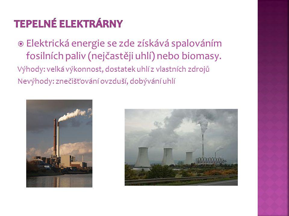 Tepelné elektrárny Elektrická energie se zde získává spalováním fosilních paliv (nejčastěji uhlí) nebo biomasy.