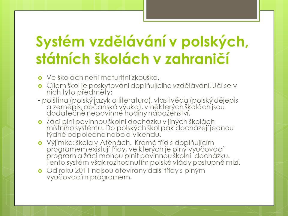 Systém vzdělávání v polských, státních školách v zahraničí