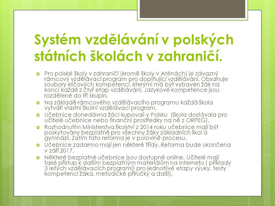 Systém vzdělávání v polských státních školách v zahraničí.