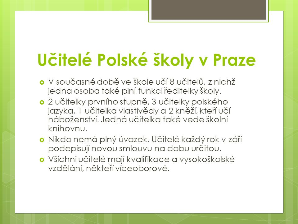 Učitelé Polské školy v Praze