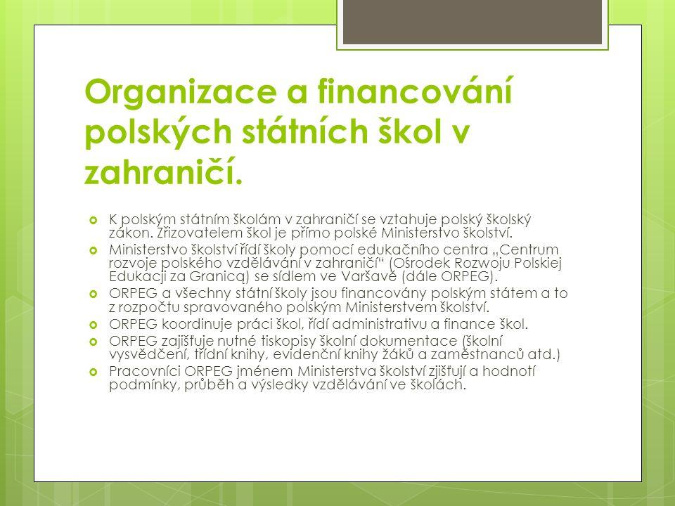 Organizace a financování polských státních škol v zahraničí.