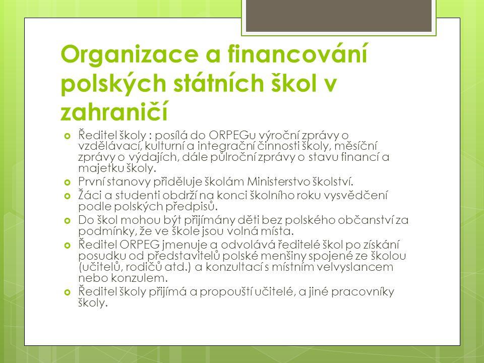 Organizace a financování polských státních škol v zahraničí