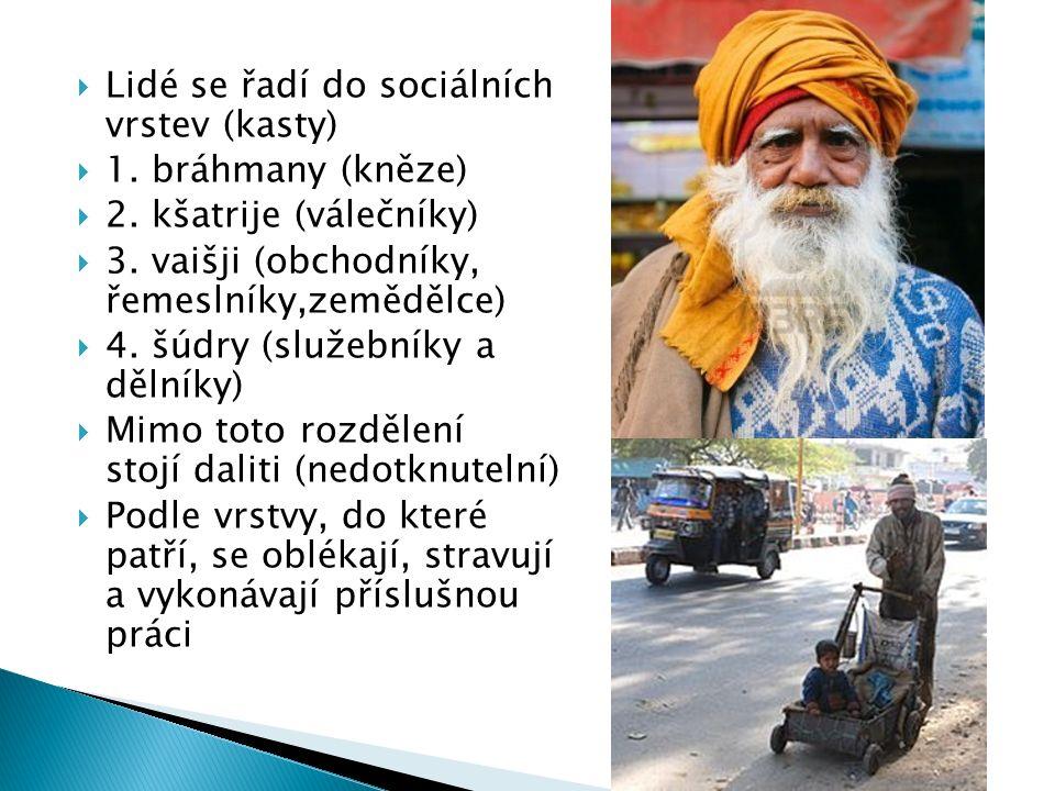 Lidé se řadí do sociálních vrstev (kasty)