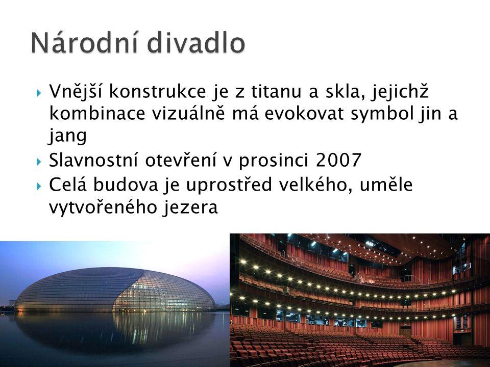 Národní divadlo Vnější konstrukce je z titanu a skla, jejichž kombinace vizuálně má evokovat symbol jin a jang.