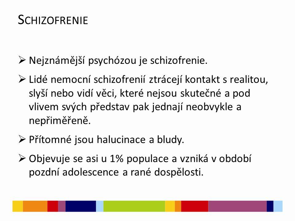 Schizofrenie Nejznámější psychózou je schizofrenie.