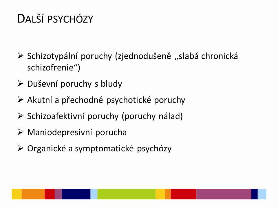 """Další psychózy Schizotypální poruchy (zjednodušeně """"slabá chronická schizofrenie ) Duševní poruchy s bludy."""