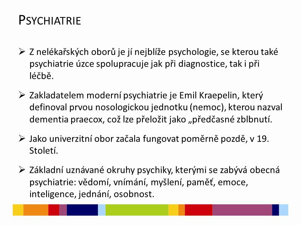 Psychiatrie Z nelékařských oborů je jí nejblíže psychologie, se kterou také psychiatrie úzce spolupracuje jak při diagnostice, tak i při léčbě.