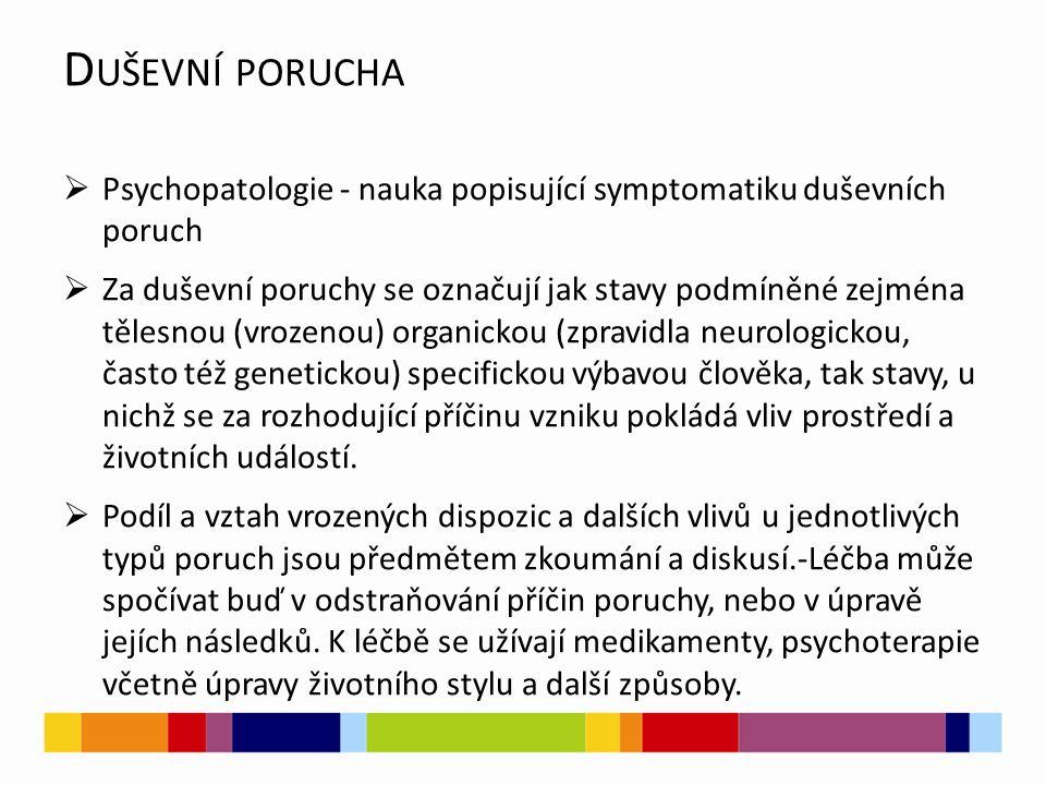 Duševní porucha Psychopatologie - nauka popisující symptomatiku duševních poruch.
