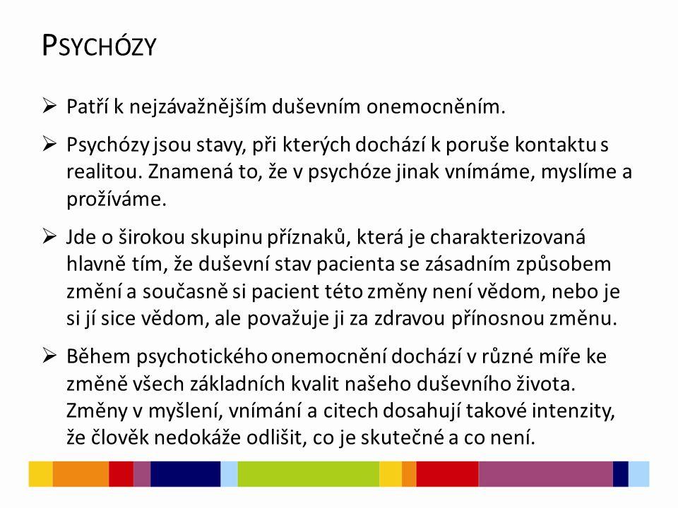 Psychózy Patří k nejzávažnějším duševním onemocněním.
