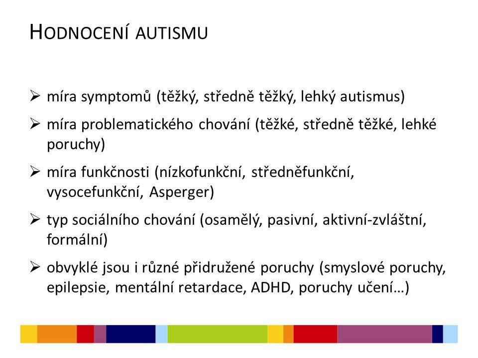 Hodnocení autismu míra symptomů (těžký, středně těžký, lehký autismus)