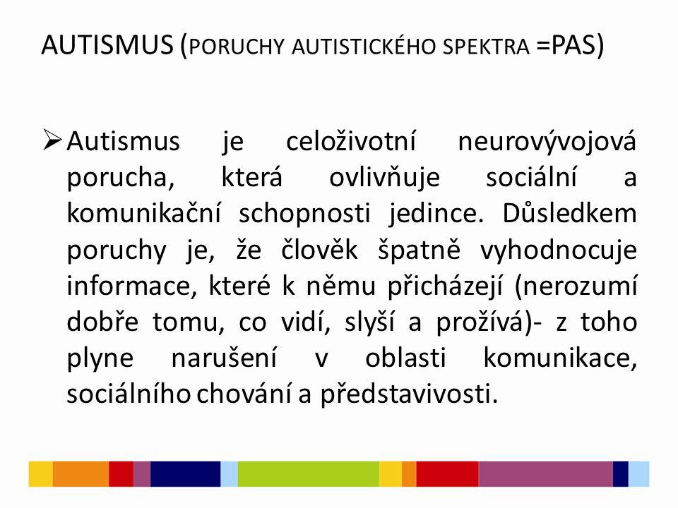AUTISMUS (poruchy autistického spektra =PAS)