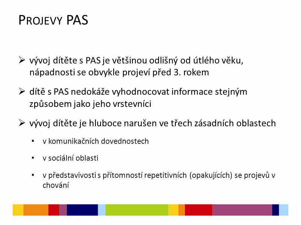 Projevy PAS vývoj dítěte s PAS je většinou odlišný od útlého věku, nápadnosti se obvykle projeví před 3. rokem.