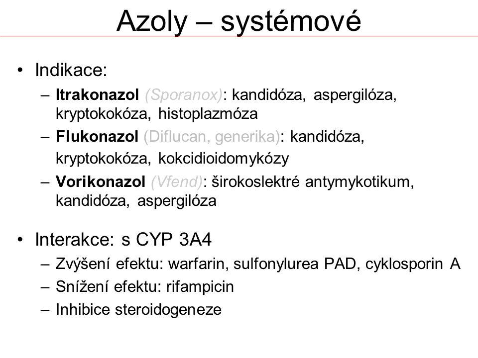 Azoly – systémové Indikace: Interakce: s CYP 3A4