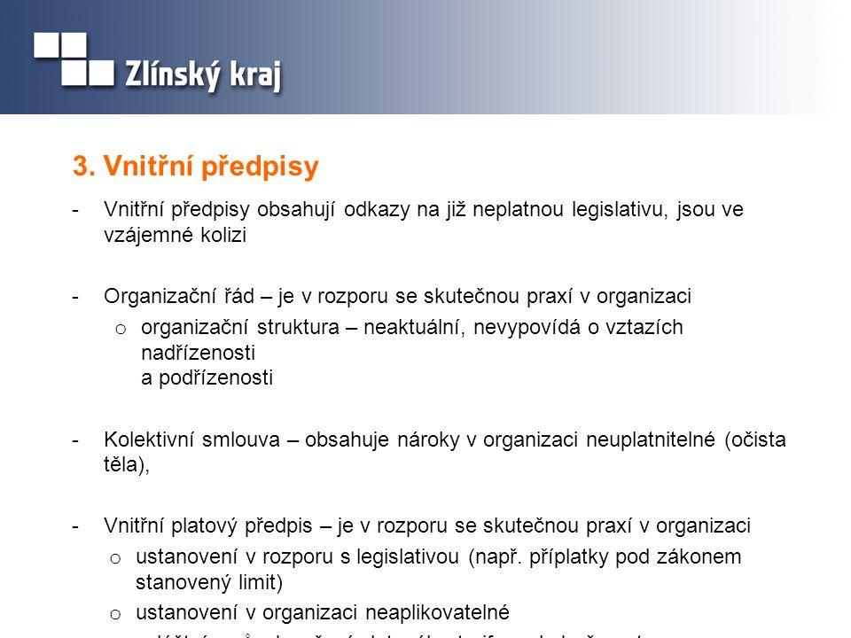 3. Vnitřní předpisy Vnitřní předpisy obsahují odkazy na již neplatnou legislativu, jsou ve vzájemné kolizi.