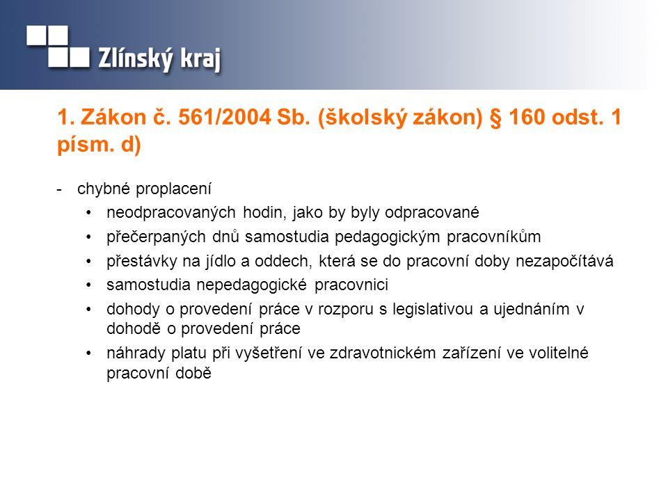 1. Zákon č. 561/2004 Sb. (školský zákon) § 160 odst. 1 písm. d)