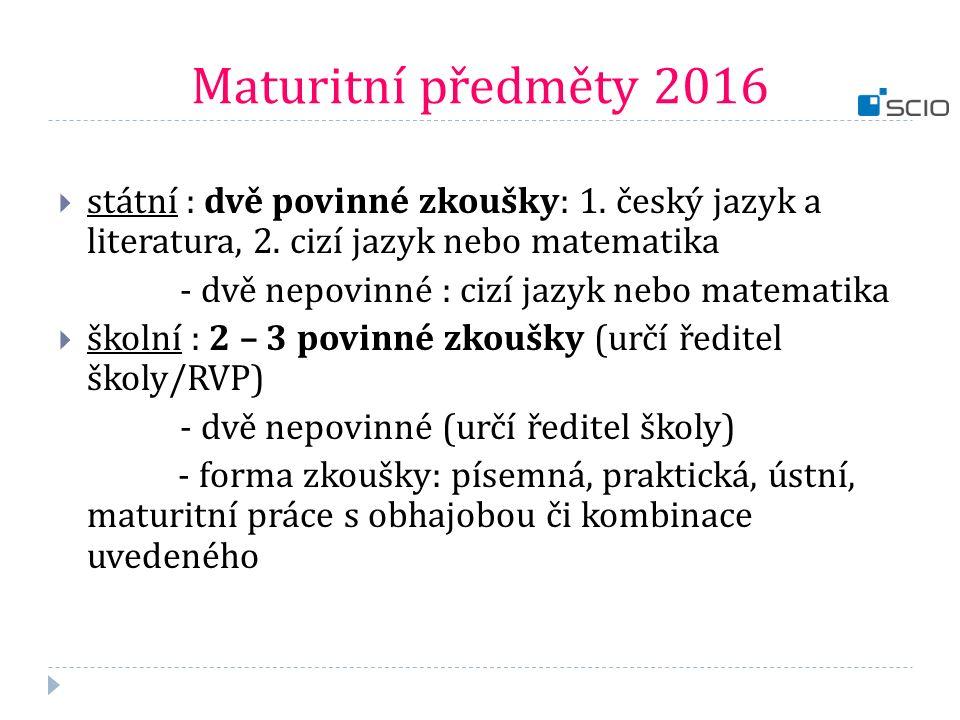 Maturitní předměty 2016 státní : dvě povinné zkoušky: 1. český jazyk a literatura, 2. cizí jazyk nebo matematika.