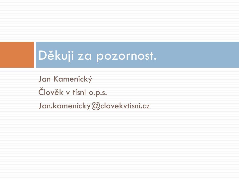 Děkuji za pozornost. Jan Kamenický Člověk v tísni o.p.s.